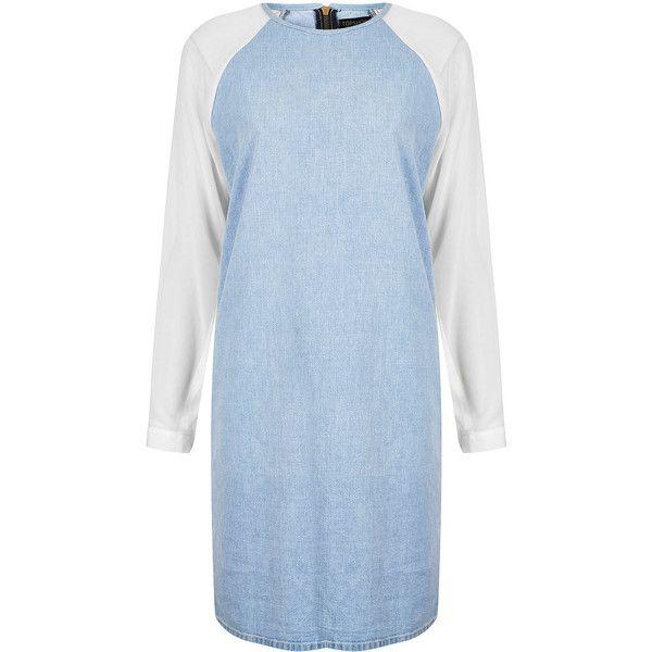 TOPSHOP MOTO Chiffon Denim Dress ($14) ❤ liked on Polyvore featuring dresses, topshop, denim, bleach stone, hana ramirez, long-sleeve denim dresses, zipper dress, sleeve dress, blue denim dress and zip dress