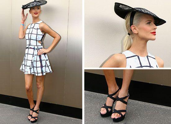 geometric print monochrome dress. 2013 2014 spring race day fashion