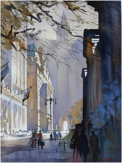 """Chambers Street - NYC"" Thomas W Schaller   Watercolor - 2013 30x22 inches"