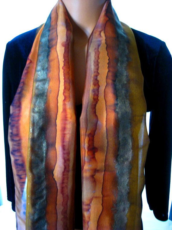 Sienna Rust Umber Burnt Orange Gold Hand Dyed Hand by BlueSkySilks