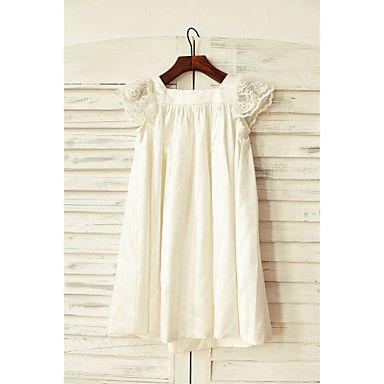 Flower+Girl+Dress+Sheath+/+Column+Knee-length+-+Stretch+Satin+Short+Sleeve+Square+with+–+USD+$+49.99