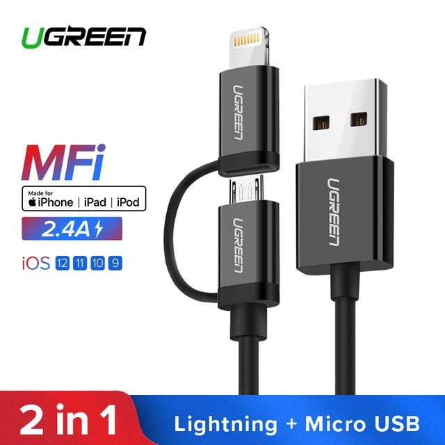 Ugreen Usb Cable For Iphone Xs X 8 7 6 Charging Charger 2 In 1 Micro Usb Cable For Android Usb Type C Type C Mobile Phone Cabl Micro Usb Cable Phone Cables Usb