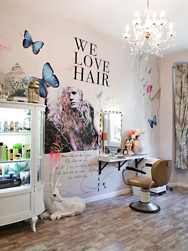 Repurposed vintage pieces fit with the quirky decor of the salon.