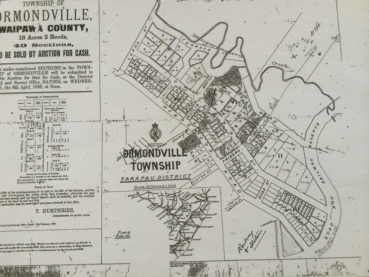 Public notice for 49 sections for sale 1896 for Ormondville Township. Notice the Norsewood-Ormondville Road  carrying onto what is now Tua Street. The Police Station triangle has been penciled in but was at this time part of the bigger railway/domain block.