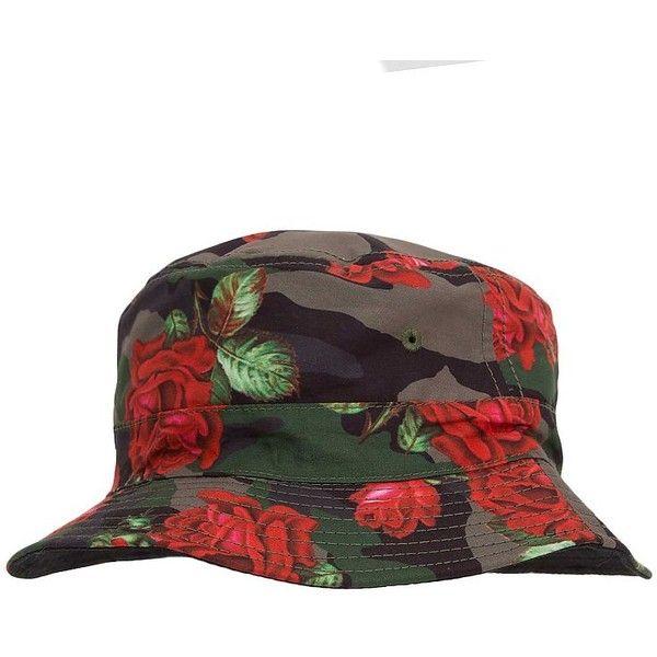 Asphalt Floral Camo Bucket Hat ($15) ❤ liked on Polyvore featuring men's fashion, men's accessories, men's hats, red, mens floral hats and mens camo hats