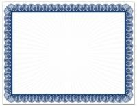"Blue Value Certificate Paper contains 100 sheets of acid and lignin free 8.5"" X 11"" 60 lb text paper.  A faint starburst design is centered inside the border."