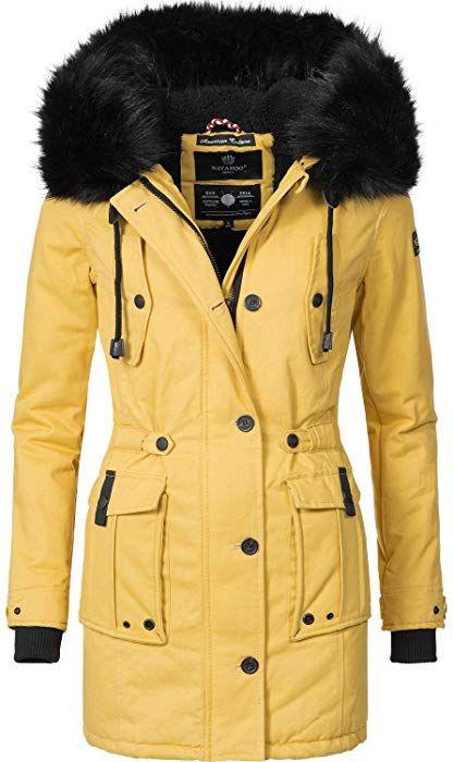 e11c8e4752f6 Navahoo Damen Winter Mantel Baumwoll Parka Luluna Gelb Gr. M  Amazon.de   Bekleidung