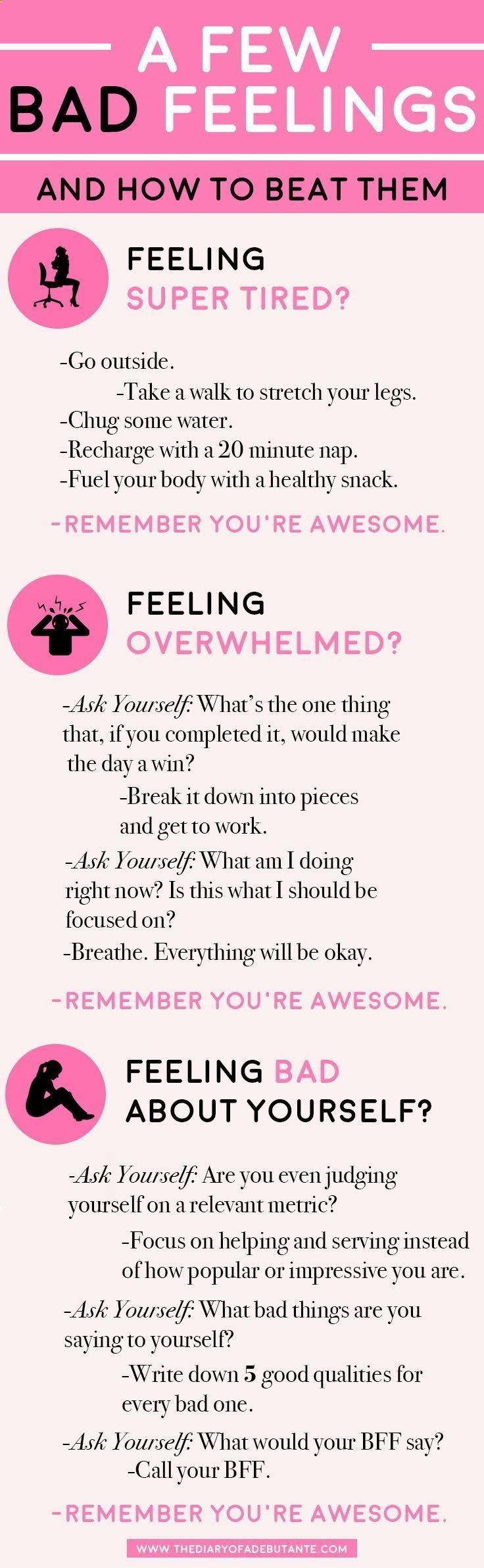 A few bad feelings-- and how to beat them. Use this positive thinking chart for a boost of positivity whenever youre having a bad day at work! | All About Perspective: A Cynics Guide to Thinking Positively by blogger Stephanie Ziajka from Diary of a Debutante
