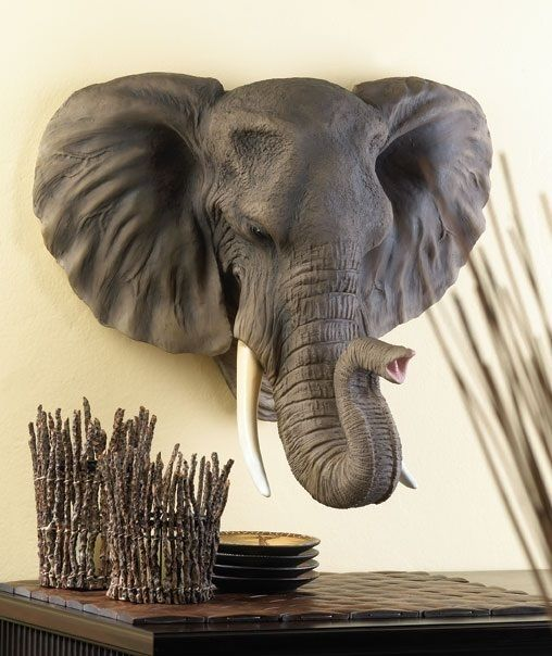 Elephant Head Wall Plaque African Safari Man Cave Sculpture