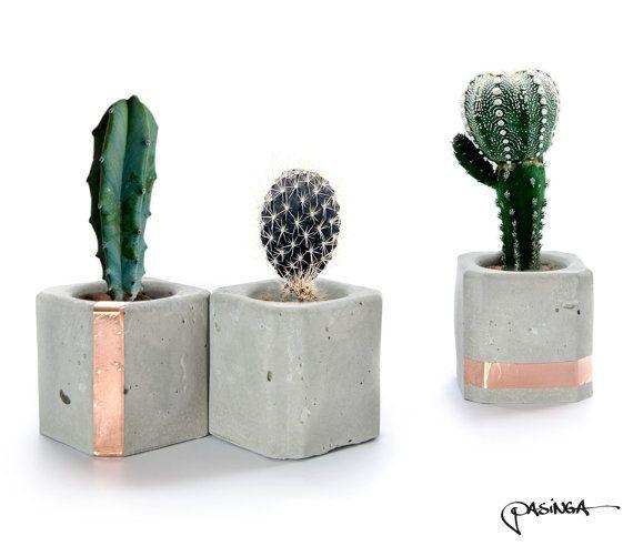 Geometric Concrete Copper Cups, Set of 3 Small Cube Concrete Planter, modern concrete decor, organizer cups, candle or insence stick holder