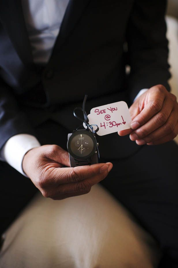 Love this wedding gift idea for the groom: a watch with a note on it!  (Justin Wright Photography)