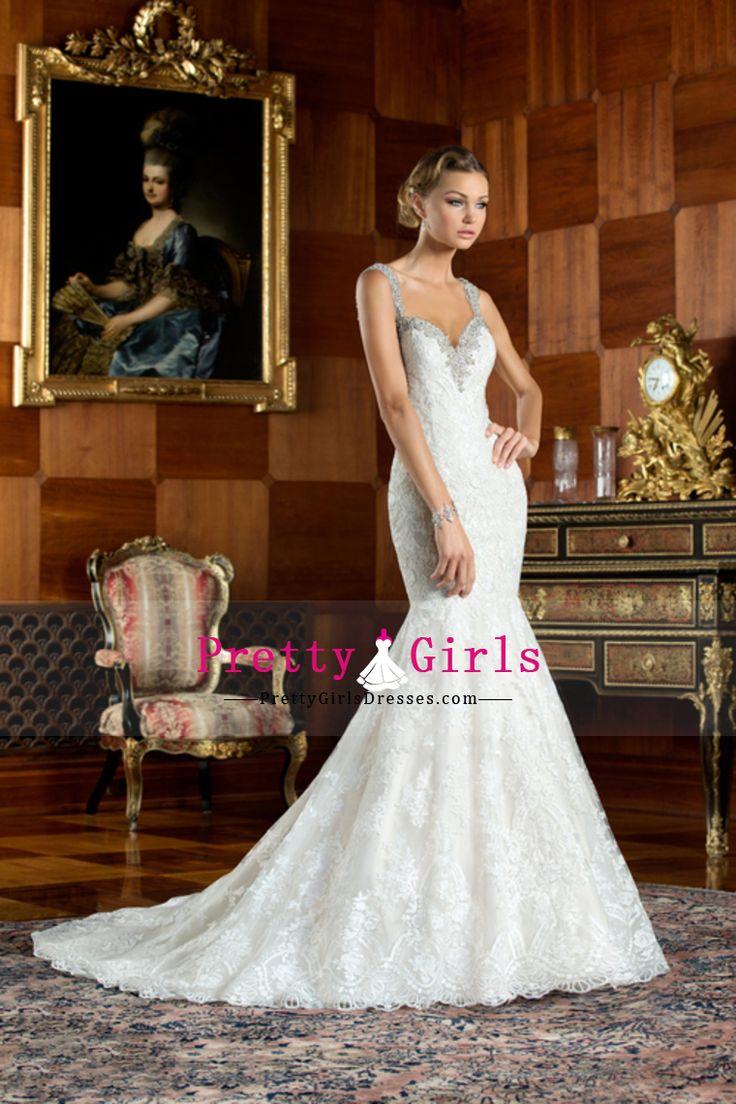 2015 Wedding Dresses Mermaid/Trumpet Bateau Sleeveless Sweep/Brush Train Zipper Up Back With Applique
