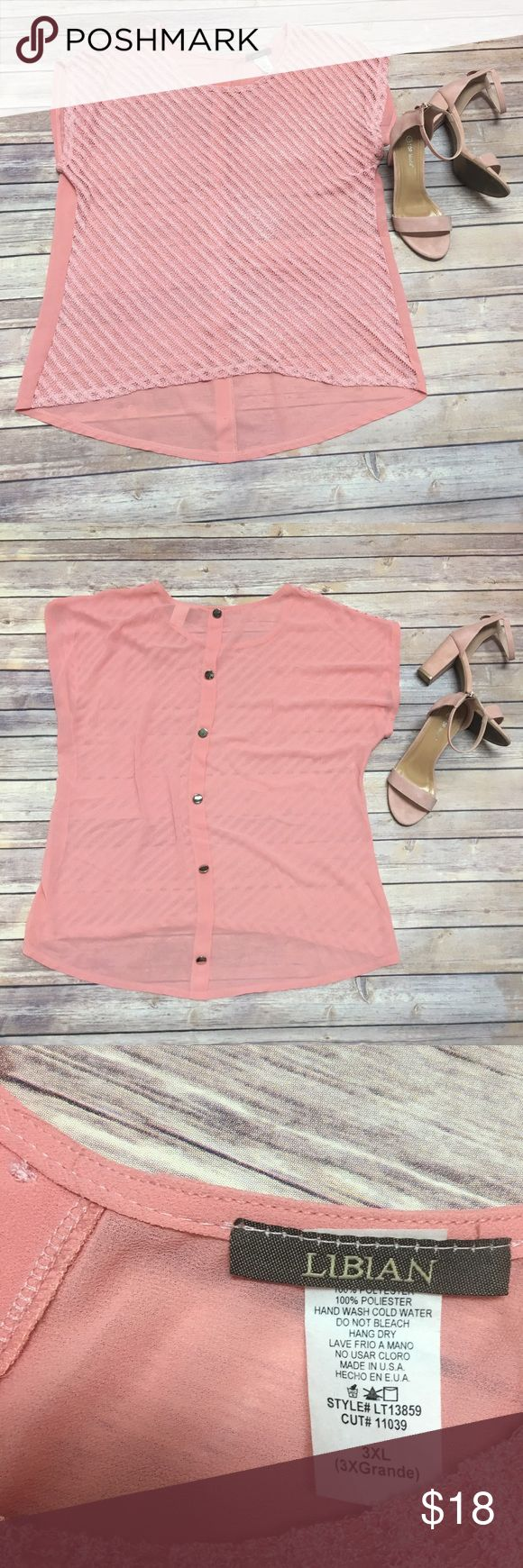 Libian Sheer Peach-Pink Short Sleeve Top Libian Clothing • Peach - Pink tone over shirt • can be used with a undershirt or bralette • front is thin crochet knit • back has buttons down the center for an extra chic classy look • Size 3XL • 100% polyester • Excellent pre-loved condition • make me an offer! Feel free to check out the rest of my closet • Bundle & Save! Libian Tops