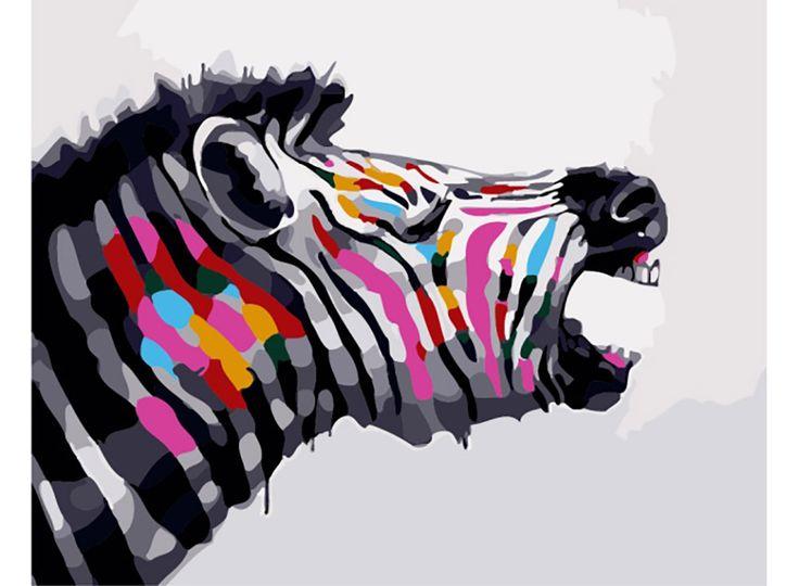 Картина по номерам, раскраска по номерам, paint by numbers, оригинальный подарок, для детской комнаты, «Разноцветная зебра» - Zvetnoe.ru - картины по номерам
