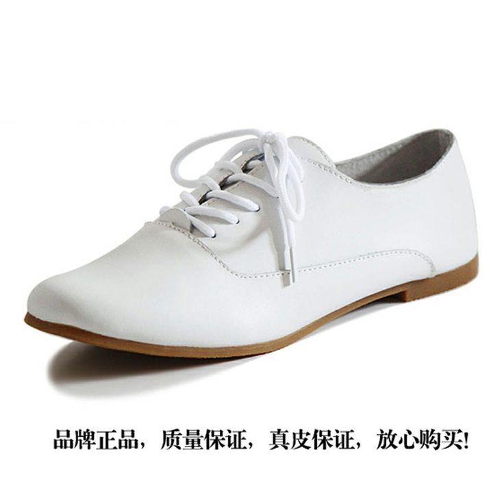 2013 весны и осени женщин обувь из натуральной кожи коровы мышцы плоская подошва пятки одиночные ботинки