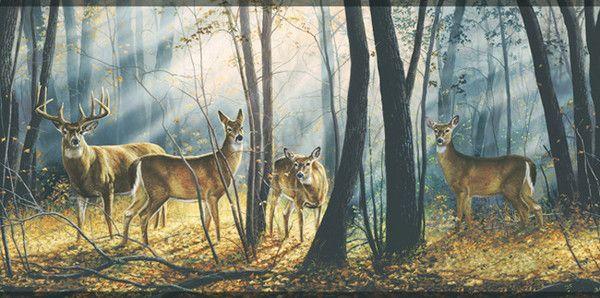 York Wallcoverings Lake Forest Lodge WD4100B Woodland Splendor Border Deer WallpaperWildlife