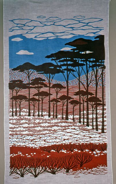 """Textile, """"Countryside Mural"""", 1975 Designed by Elenhank Medium: linen Technique: screen printed. Gift of Henry C. and Eleanor Kluck. 1985-84-19-a,b. Cooper-Hewitt"""