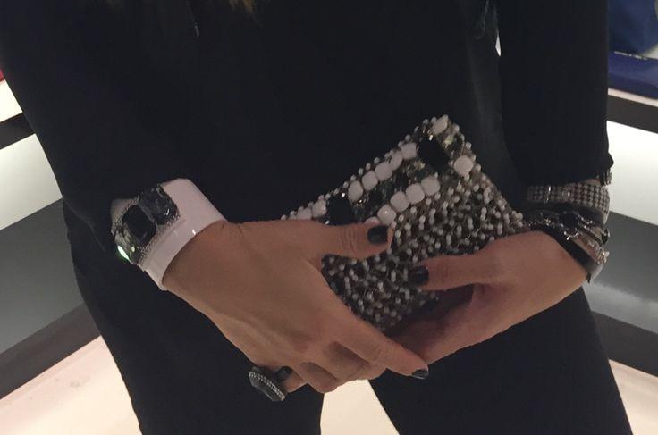 Pochette in metallo lavorazione crochet con pietre e swarovski. #handmade, #crochetmania, #plexiglass, #swarovski