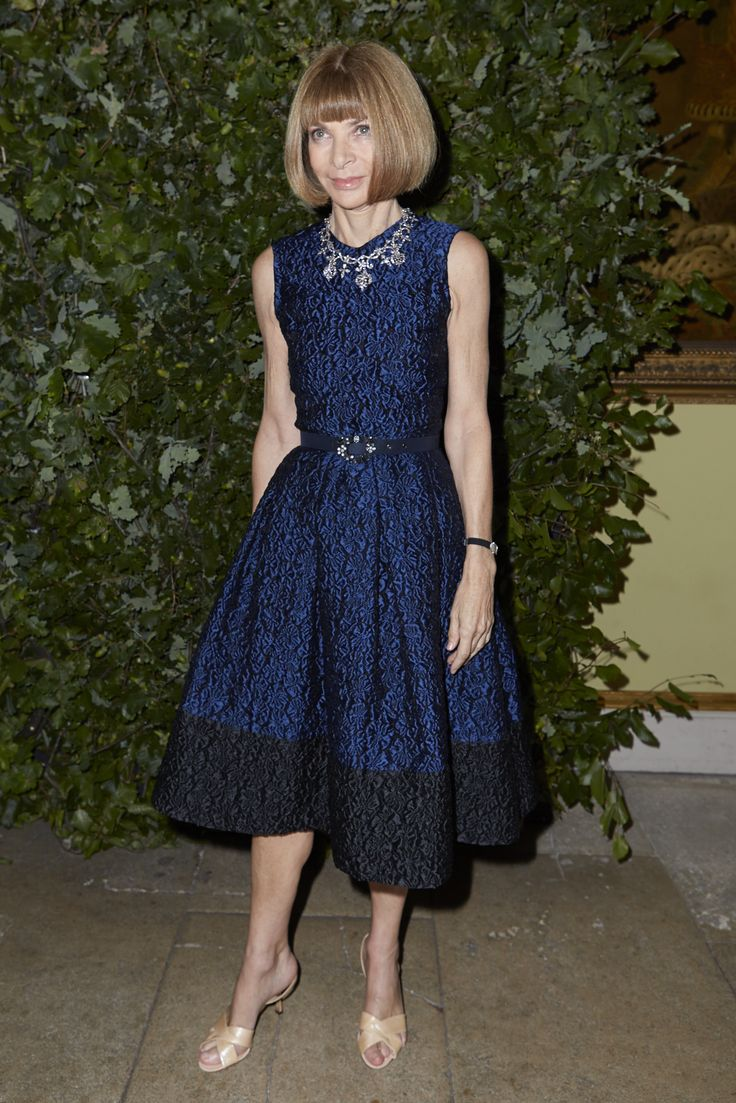 Anna Wintour Banned Ariana Grande From Wearing Ponytail: Anna Wintour Looking Gorgeous In Navy Erdem. Http://www