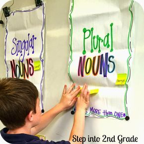 """Today we started to dig in a little deeper to singular and plural nouns. This is such a huge grammar focus because there are so many rules (of which not every word follows... sigh). Add """"s"""" here, an"""