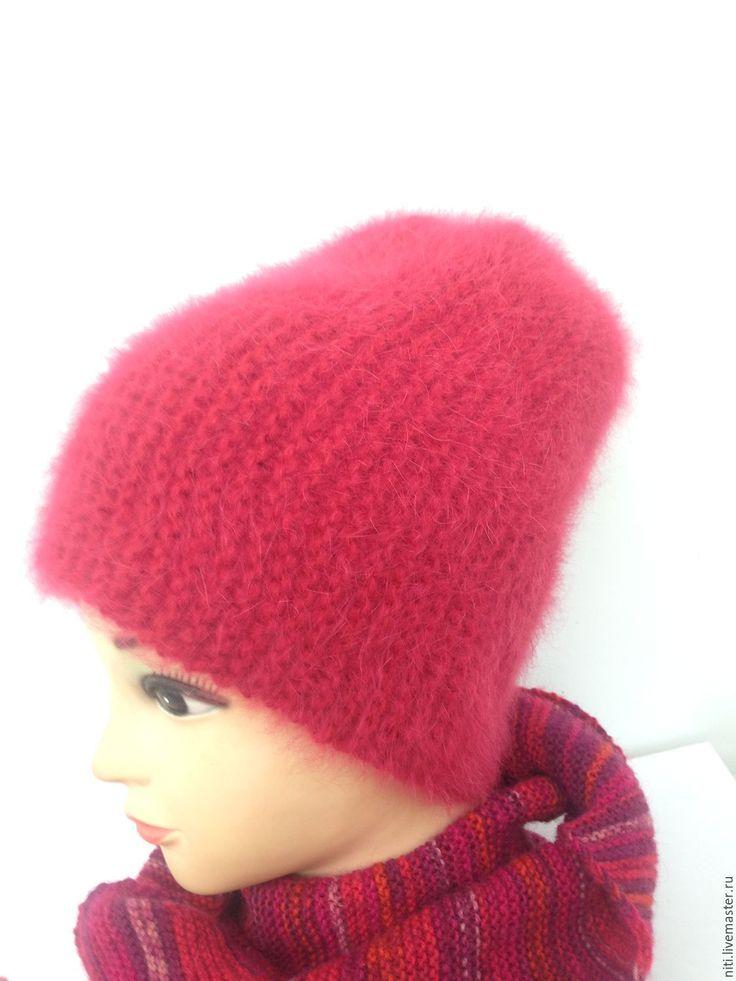 Купить Шапочка-бини их ангоры супер от Anny Blatt - ярко-красный, однотонный, шапочка