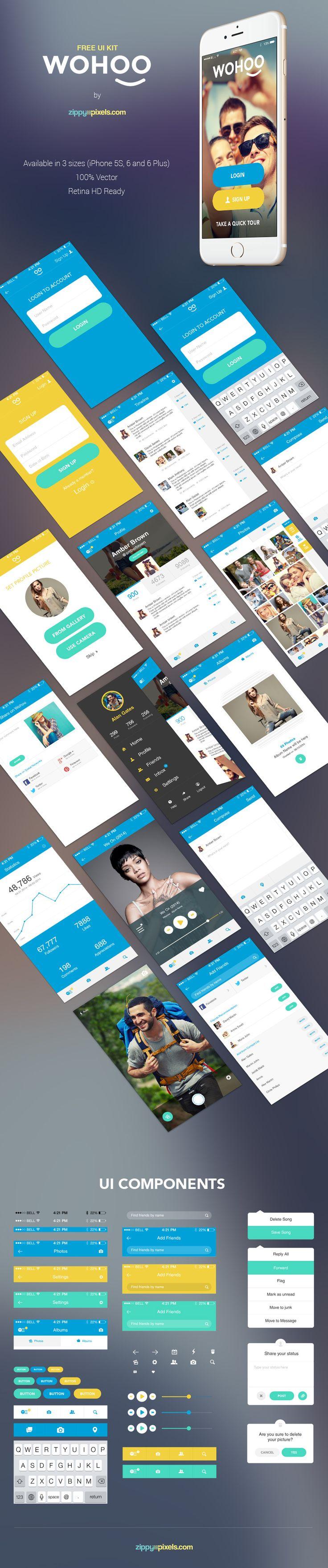 WOHOO – #free #Retina Ready #Mobile #UI KIT