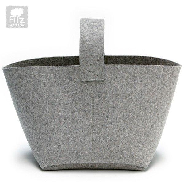 Kaminholzkorb aus 100% Wollfilz von HEY-SIGN, zu bestellen in unserem Online-Shop www.Filz-Geschenke.de