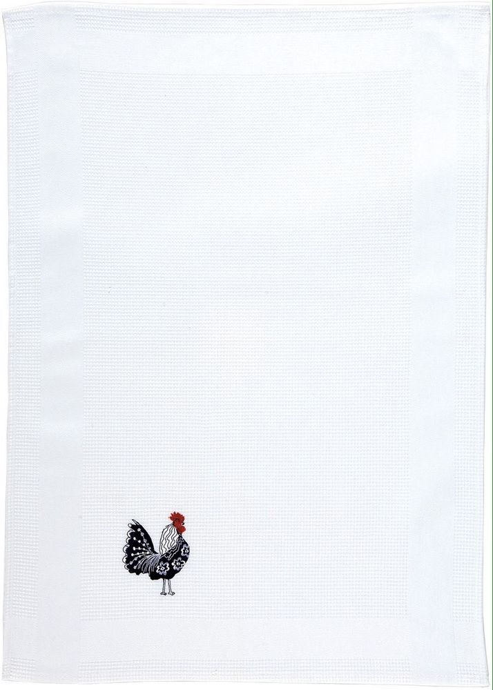 Embroidered Rooster Design Tea Towel - I love the embroidery, a real touch of class - it would make a perfect gift