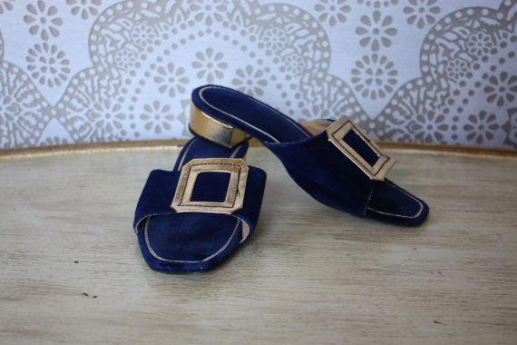 Women's Vintage 1960's Blue Velvet and Gold Metallic Slippers House Shoes Heels