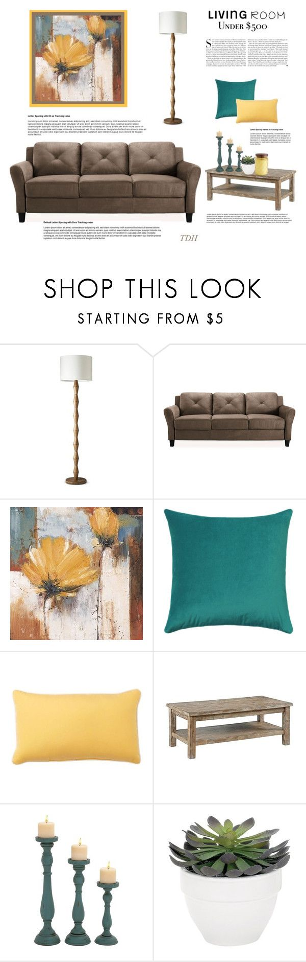 """Living Room Under $500"" by talvadh ❤ liked on Polyvore featuring interior, interiors, interior design, home, home decor, interior decorating, Yosemite Home Décor, Pottery Barn, Kershaw and Torre & Tagus"