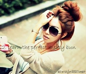 Messy Bun! Love! This site gives TONS of ideas for messy buns! Gorgeous!! You'll be very happy you pinned this:) <3