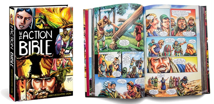 The Action Bible will give any child a foundational grasp of redemptive history. The rich coloring, bold and energetic designs, and emotionally charged figures make it the perfect choice for today's visually focused culture and ensure it will be a family favorite for years to come. With over 750 pages, The Action Bible employs dialog boxes and dynamic, kid-friendly artwork to engage young readers with soul-stirring stories that will grip their attention and propel them to want to know more.