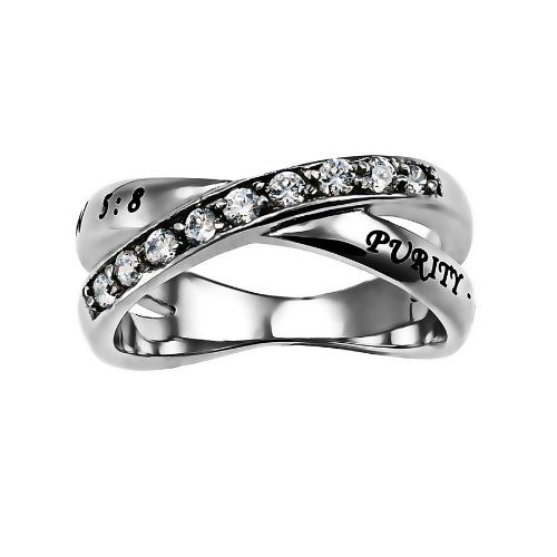 Christian Womens Stainless Steel Abstinence Matthew 5:8 Purity Radiance Chastity Ring for Girls - Girls Purity Ring - Comfort Fit Ring