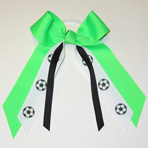 Soccer Hair Bow  Many Colors Available Neon GreenBlack White Pony Band Made in the USA >>> Be sure to check out this awesome product.(This is an Amazon affiliate link and I receive a commission for the sales)