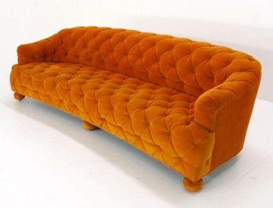 Orange Velvet Sofa Mid Century Modern Tufted Orange