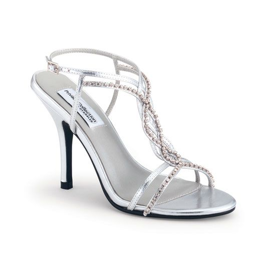 SALE! Silver Crystal Strappy Striking Heels - Unique Vintage - Prom dresses, retro dresses, retro swimsuits.