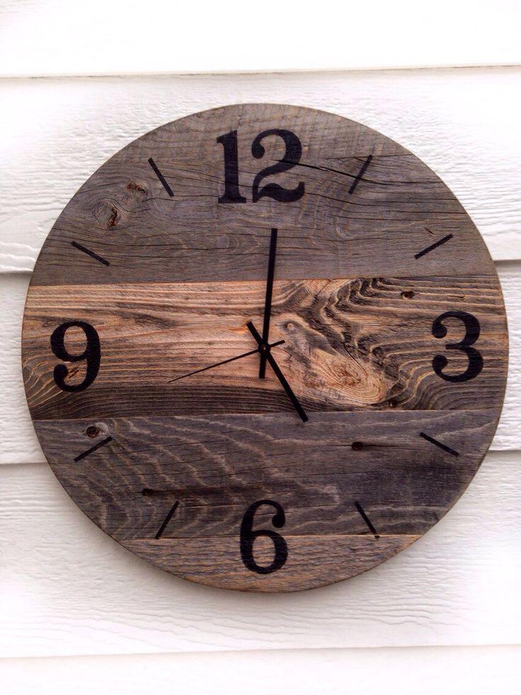 16 Inch Rustic Barn Wood Clock Wooden Clock Large Wall