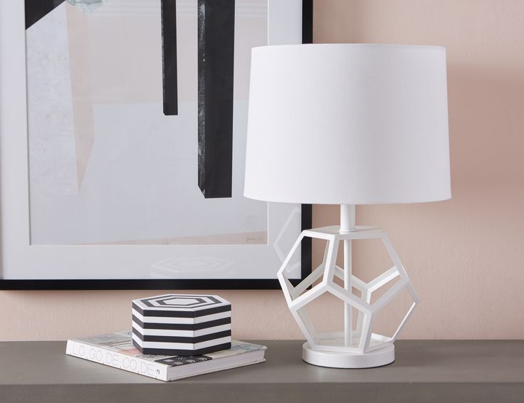 Lea white table lamp 54cm height 22 in 2019 products - Lamp height for bedroom night table ...