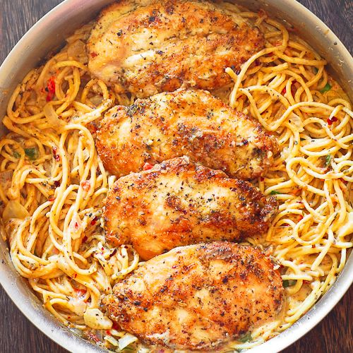 Italian seasoning, white wine and Parmesan cheese come together as one to flavor chicken and pasta in this dish in only 30 minutes. Fast and delicious!