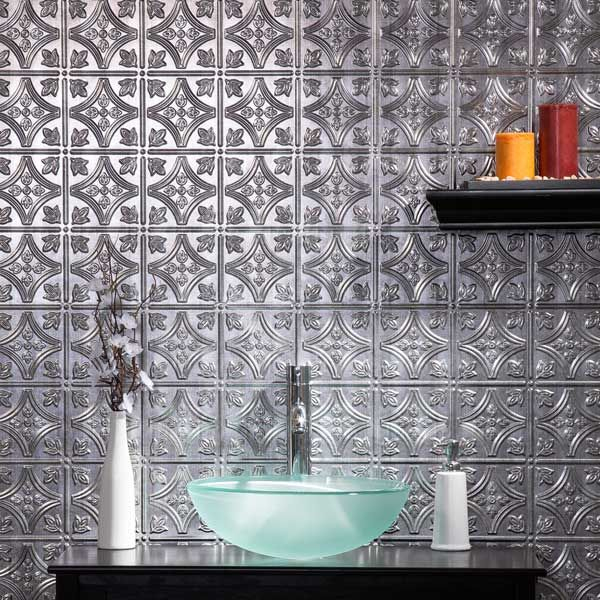 Fasade Wall Panel Traditional 1 In Crosshatch Silver