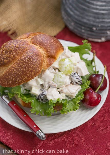 Fruity Chicken Salad   A Classic Chicken Salad jazzed up with dried cherries, grapes and pecans