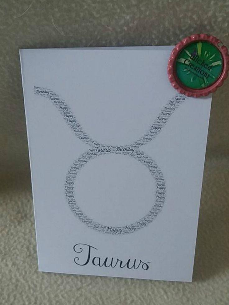 Taurus birthday card by WickedCreation2 on Etsy https://www.etsy.com/uk/listing/577652532/taurus-birthday-card