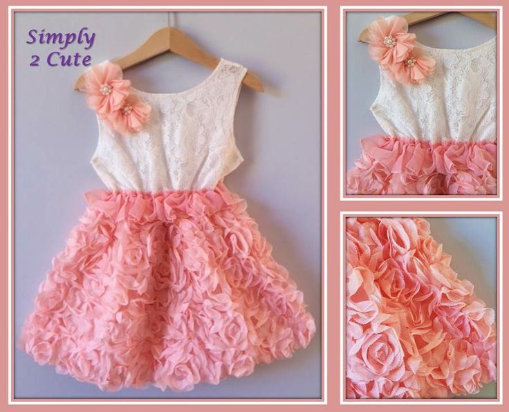 'ANGELICA' (pink) - Cute summer dress! Lined lace bodice with chiffon flowers on shoulder, linedchiffon skirt with rosettes. Also available in lilac. To fit 3-7 yrs. To purchase:  http://simply2cute.tictail.com/product/angelica-rosa