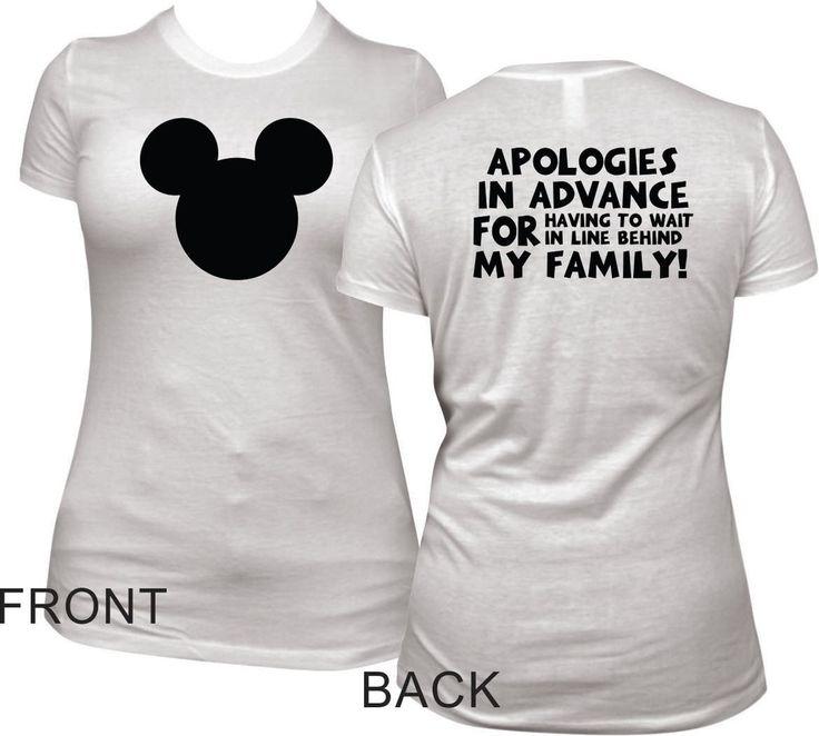 Funny Womens Disney T Shirt - Mickey Head and Apologies Short Sleeve Tee