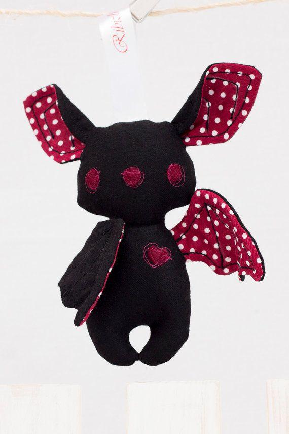Halloween Bat Stuffed Animal Toy Black Burgundy by RibizliDesign