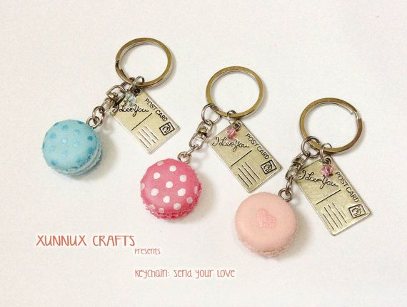 Send your love keychain Polka dot on mid sized macaron by xunnux.