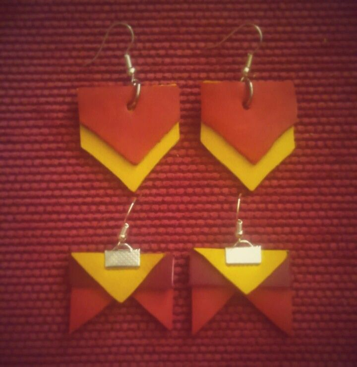 Création maison / home made. Boucles d'oreilles  avec chutes de cuir. Hand made. Leather cow red and yellow.