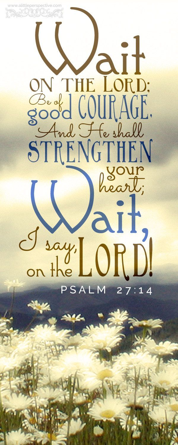 Wait on the Lord, be of good courage, and He shall strengthen your heart; Wait, I say, on the Lord. Psalm 27:14