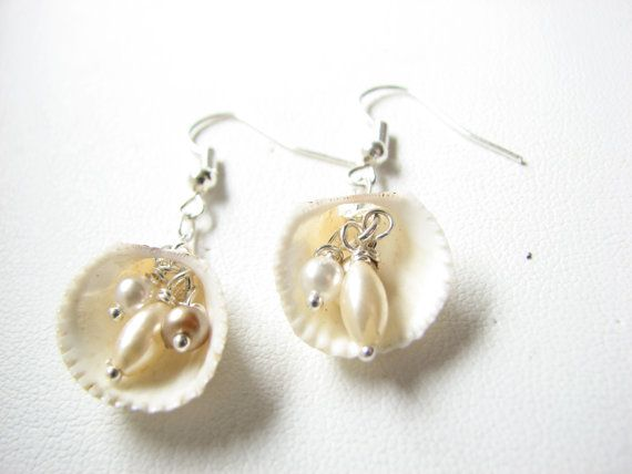 Shell Jewelry - Shell Earrings with Pearl Accent, Sea Shell Beach Wedding Jewelry