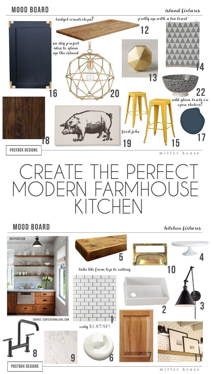 Farmhouse Kitchen Mood Board by Postbox Designs, E-Design, Mood Board, farmhouse kitchen ideas, fixer upper kitchen, subway tile, shiplap, open shelves, gold hardware
